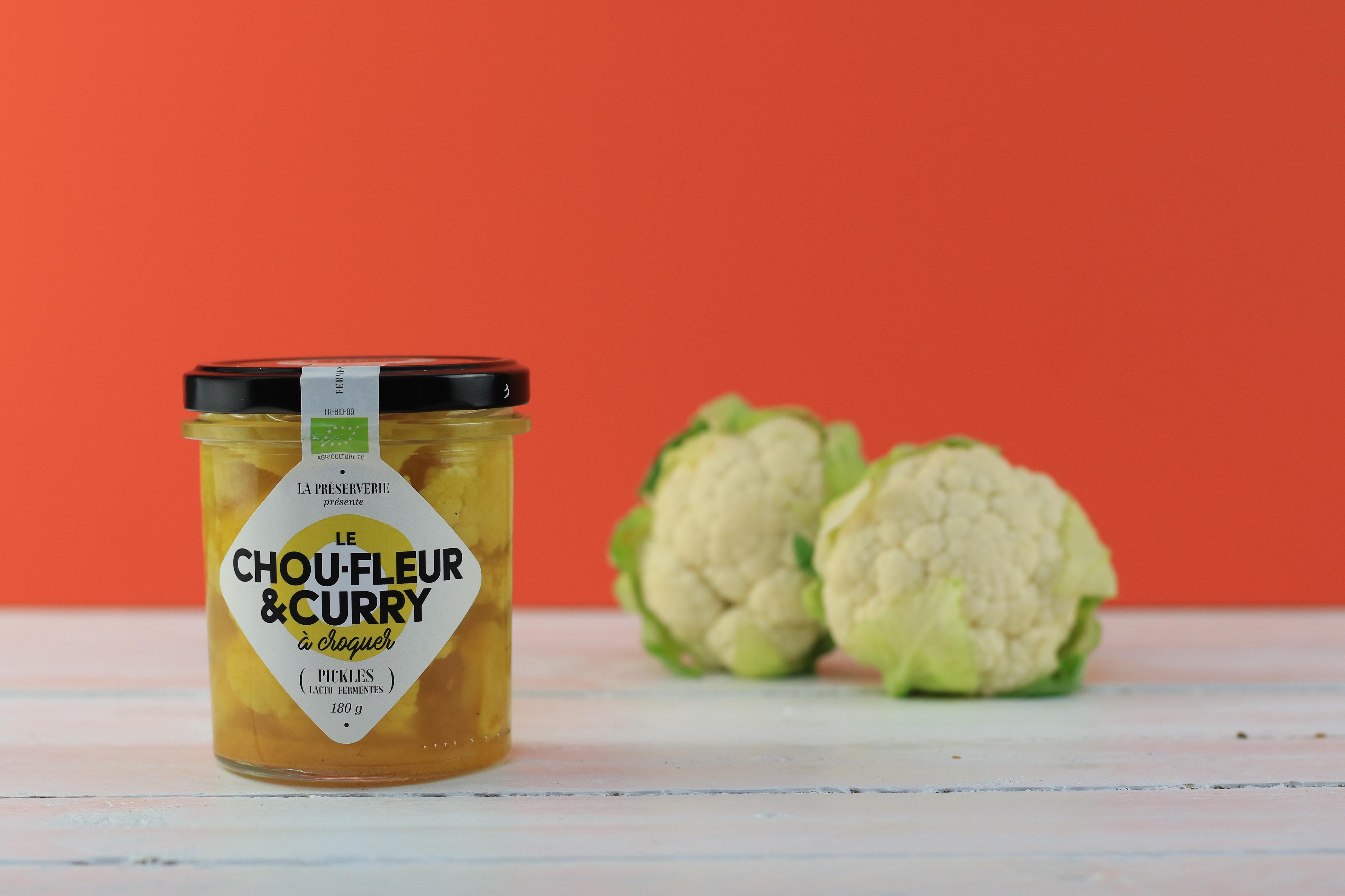 – Gammes Légumes à croquer lactofermentés Chou fleur Curry La Préserverie
